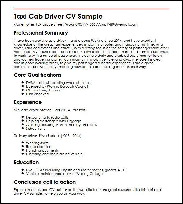 Taxi Cab Driver CV Sample | MyperfectCV