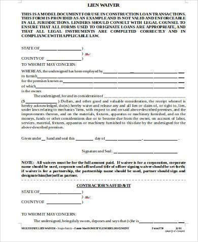 Sample Construction Lien Waiver Forms - 8+ Free Documents in Word, PDF