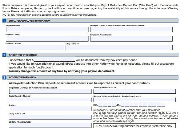 Sample Payroll Deduction Form - 10 Download Free Documents In PDF ...