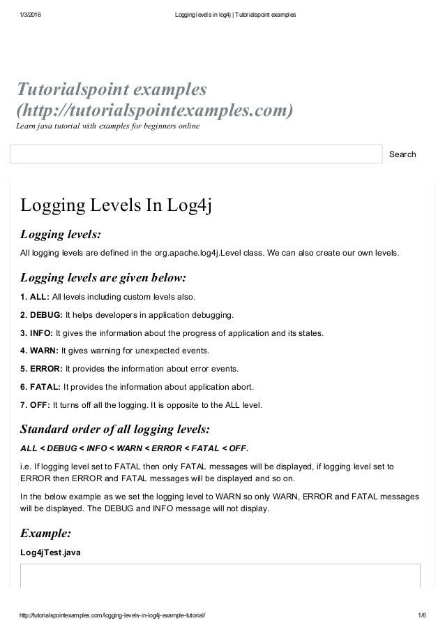 Logging levels in log4j tutorialspoint examples