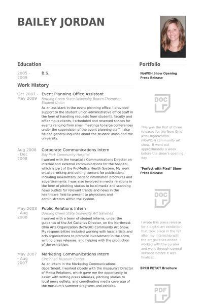 Event Planning Resume samples - VisualCV resume samples database