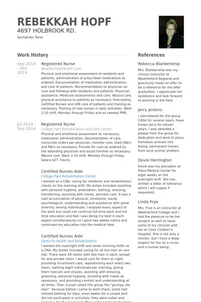 Registered Nurse Resume samples - VisualCV resume samples database