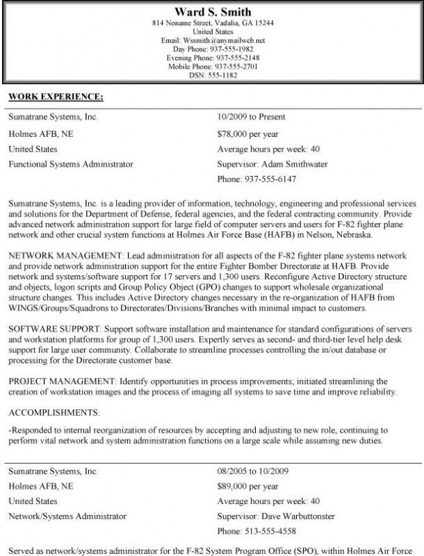 Federal Style Resume – Resume Examples