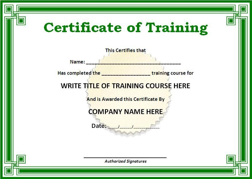 Training Certificate Templates for Word | ... on the download ...