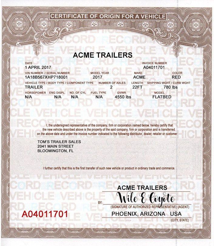 Buy MCO MSO Manufactures Certificates of Origin