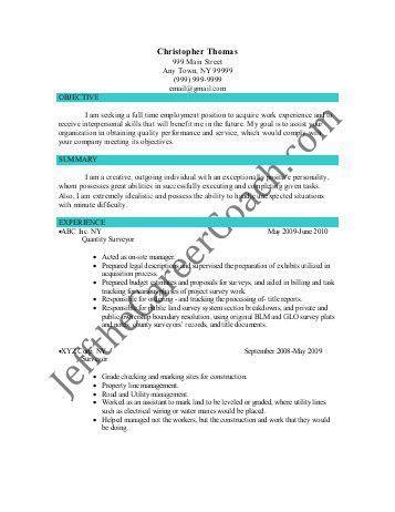 Quantity Surveying Resume Sample - Ecordura.com