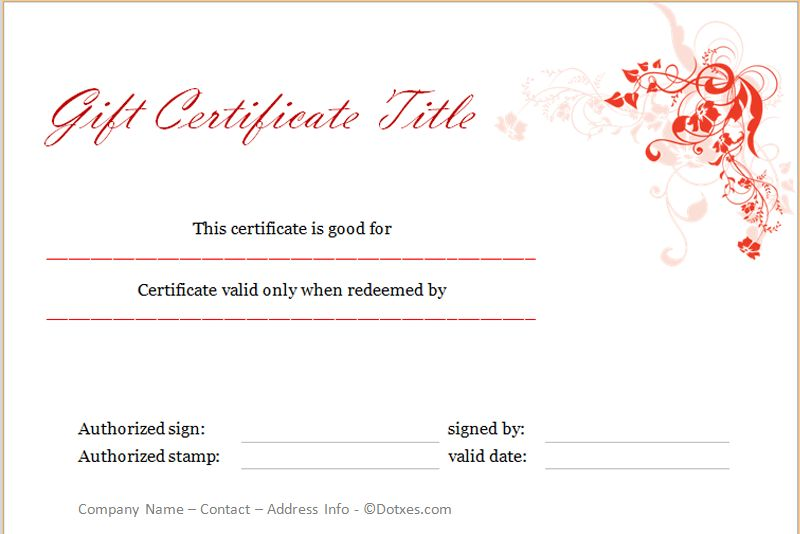 Holiday Gift Certificate Template (Floral Design) - Dotxes
