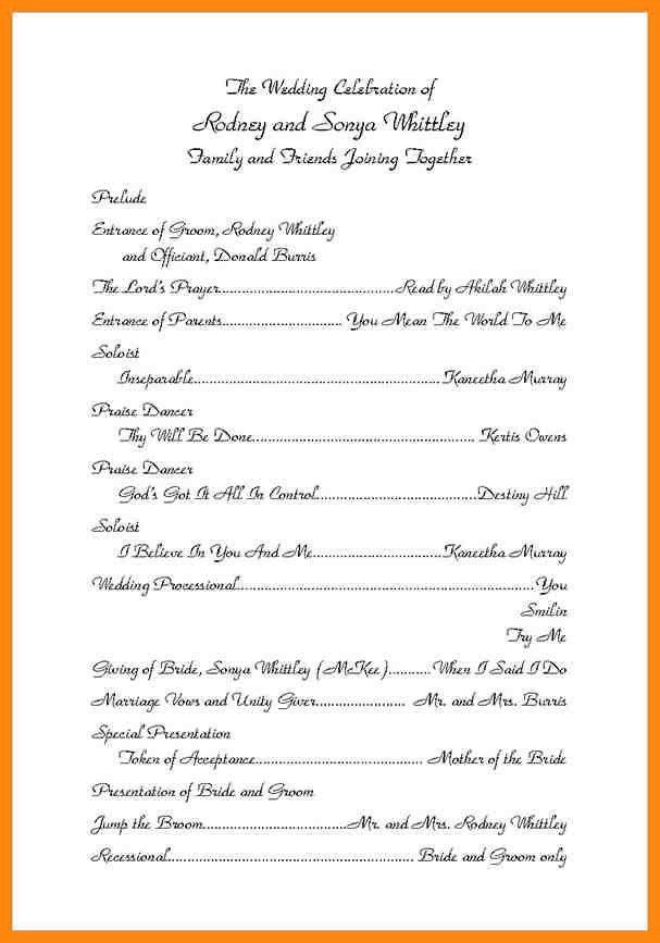 6+ wedding ceremony program template   nurse resumed