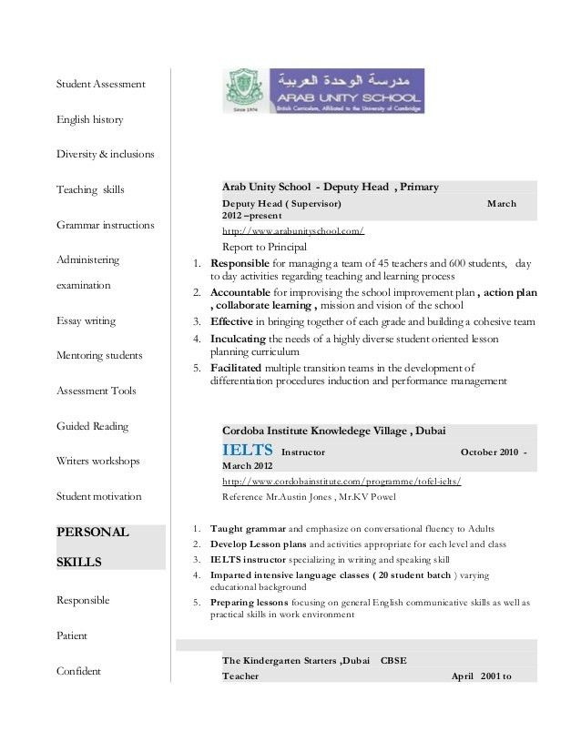 Sample Resume For Ielts Teacher - Resume Templates