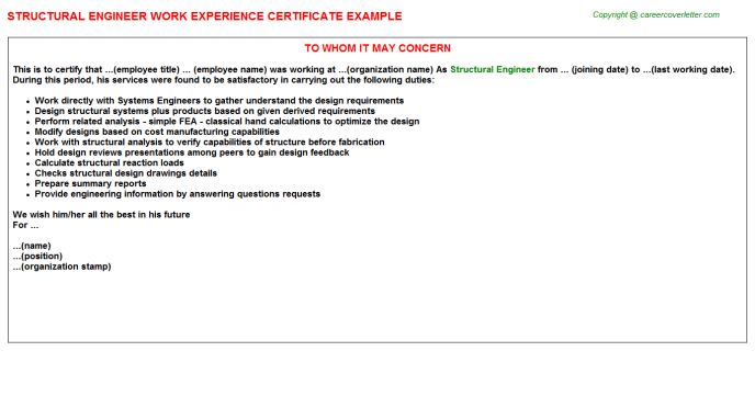 Structural Engineer Work Experience Certificate