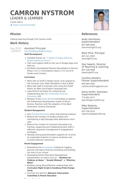 Assistant Principal Resume samples - VisualCV resume samples database