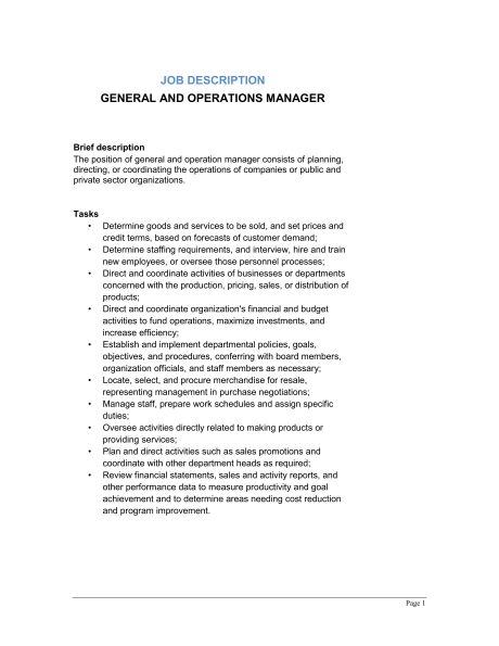 General and Operations Manager Job Description - Template & Sample ...