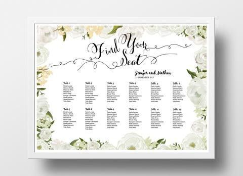 Wedding Seating Chart DIY | Editable MS Word Template | Peony ...