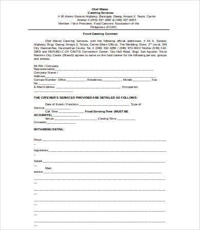 Catering Contract - 9+ Free PDF, Word Documents Download | Free ...