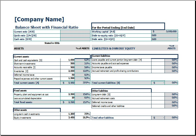 Balance Sheet with Financial Ratio | Excel Templates