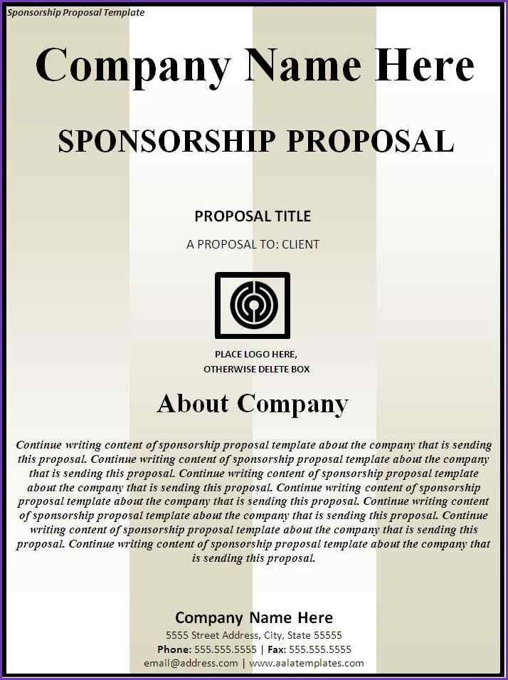 SPONSORSHIP PROPOSAL TEMPLATE | Jobproposalideas.com