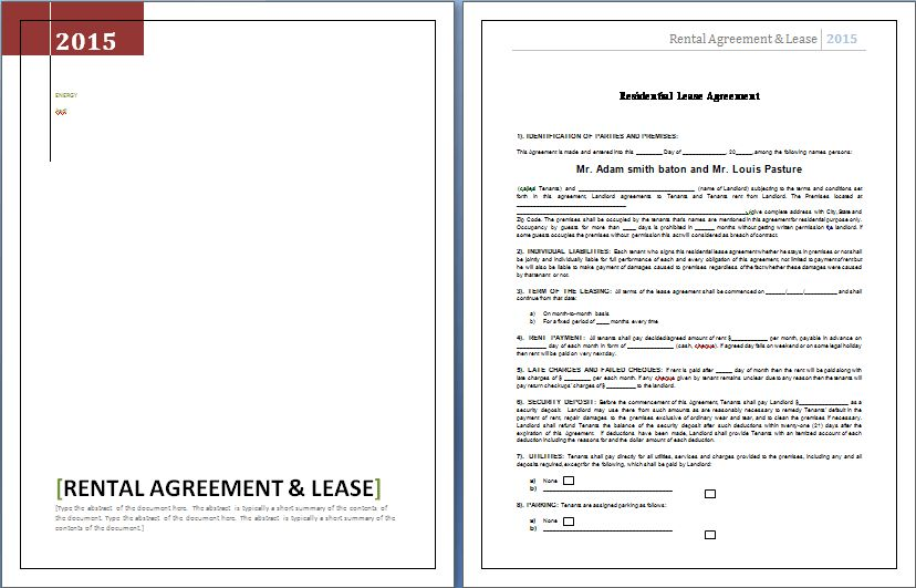 Rental Agreement and Lease Template | Word & Excel Templates