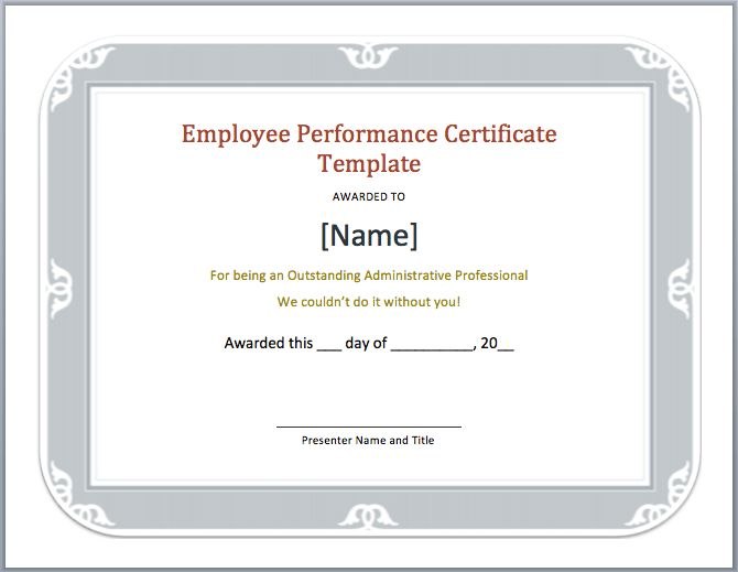 Employee Performance Certificate Template – Microsoft Word Templates