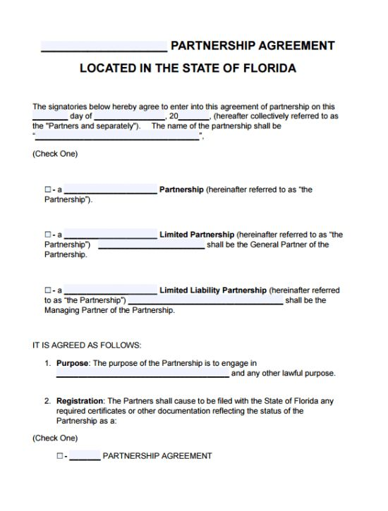 Free Florida Partnership Agreement Template | PDF | Word |