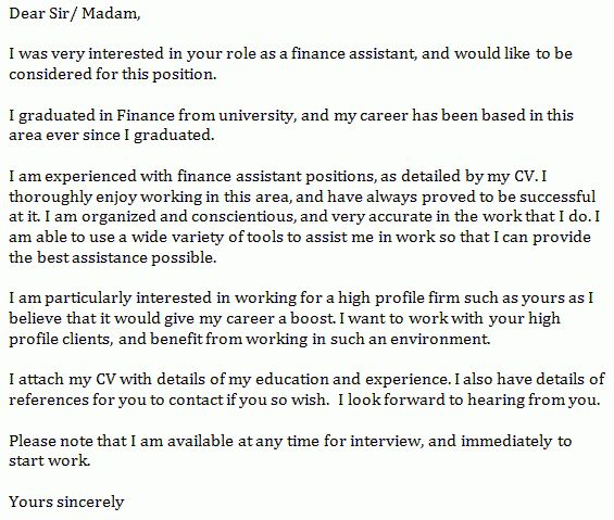 Finance Assistant Cover Letter Example - Learnist.org