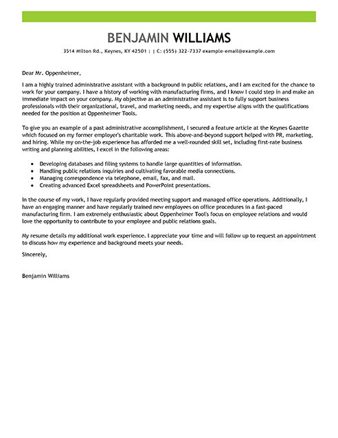 administrative cover letter sample cover letter sample sample of ...