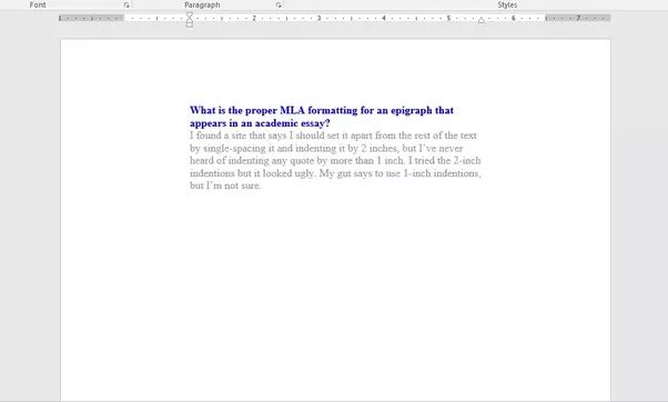 What is the proper MLA formatting for an epigraph that appears in ...