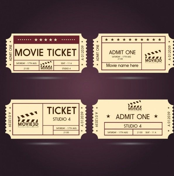 Movie ticket templates classical horizontal style Free vector in ...