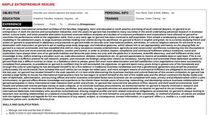Entrepreneur Cover Letter & Resume