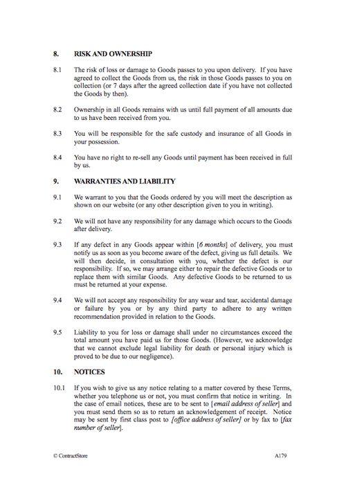 E-Commerce Terms & Conditions | ContractStore