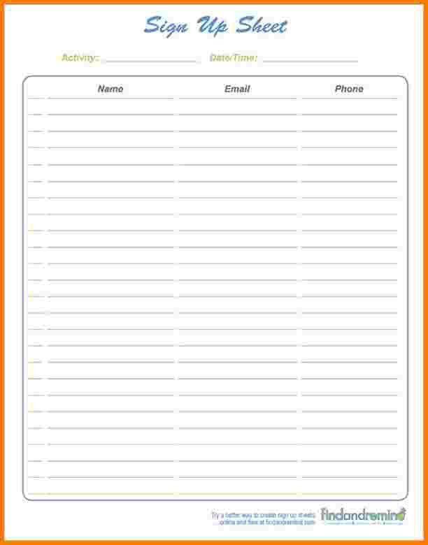 5 sign up template | Receipt Templates