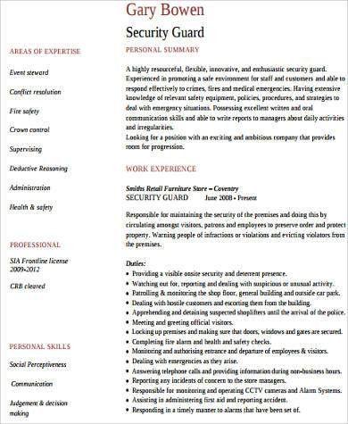 Sample Security Resume - 9+ Examples in Word, PDF