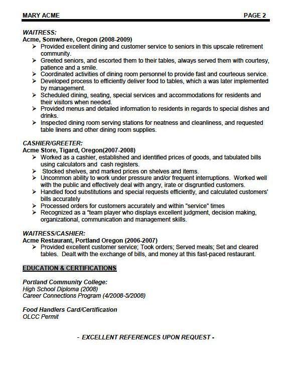 Resume Sample For Hotel Waiter - Templates