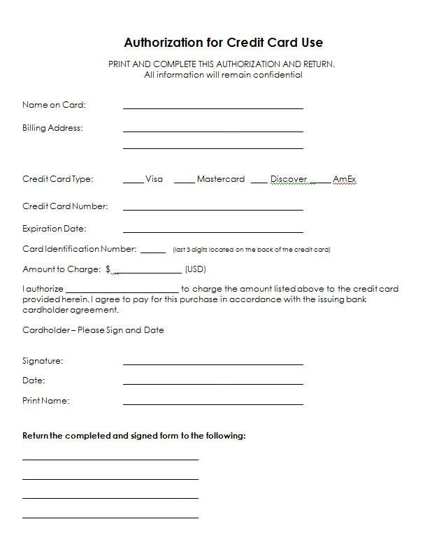 Authorization For Credit Card Use - Free Authorization Forms
