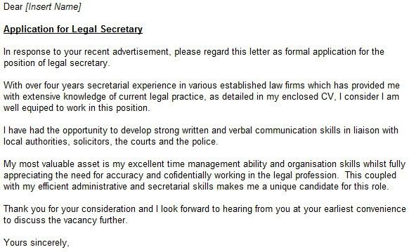 Captivating Legal Secretary Cover Letter 14 Letter For Law Firm ...