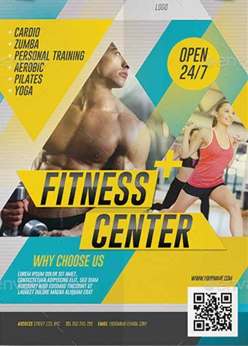 Fitness Center Promotion Flyer Template - Download Electro and DJ ...