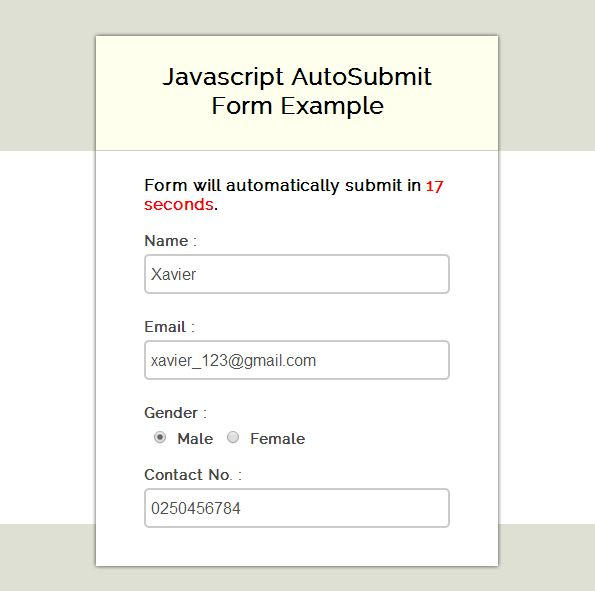 Javascript : Auto Submit Form Example | FormGet