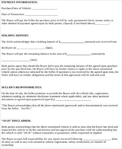 Car Sale Contract Sample - 8+ Examples in Word, PDF
