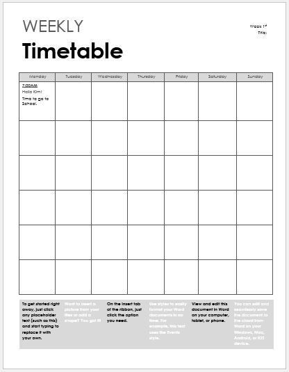 Class Timetable Template. Weekly Class Schedule Template Ms Excel ...