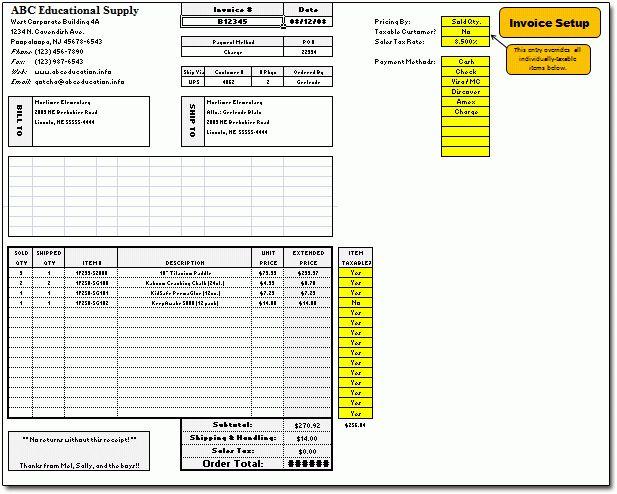 Excel Invoice Spreadsheet @ Moneyspot.org