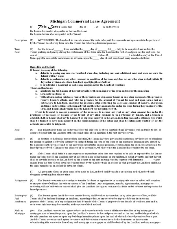 Michigan Commercial Lease Agreement | LegalForms.org