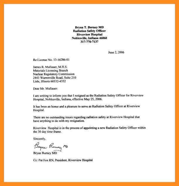 Letter Of Resignation. Sample Nursing Resignation Letter ...