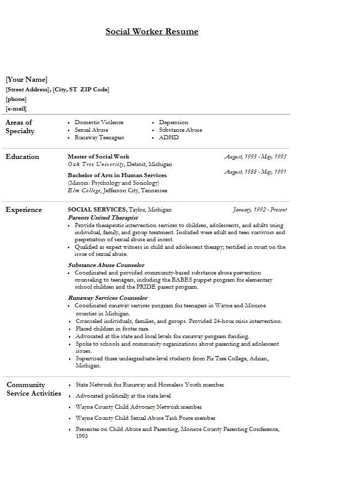 Examples Of Work Resumes. Social Services Resume Examples Resume ...