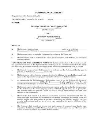 Theater Production Forms   Legal Forms and Business Templates ...