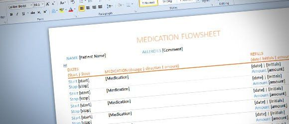 Flowsheet Template for Word 2013