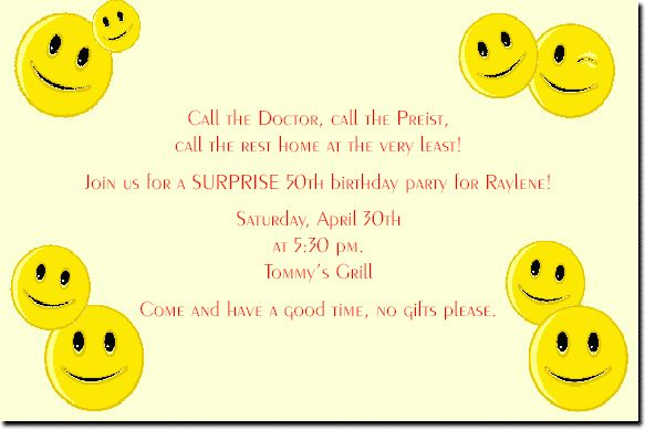 Smiley Face Reunion Invitation : RSVP Cards and Response Cards ...