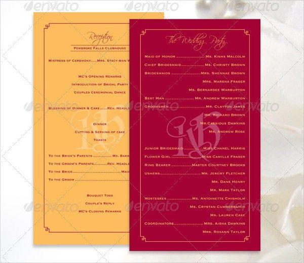 17+ Wedding Program Template   Free & Premium Templates