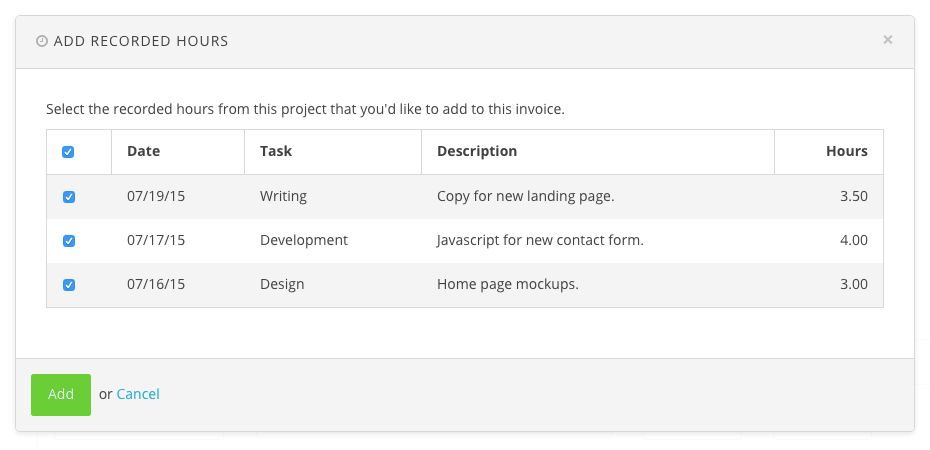 New Feature: Adding Recorded Hours to an Invoice Just Got Easier