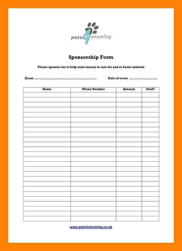 7+ Sponsorship Form Template | Intern Resume  Charity Sponsor Form