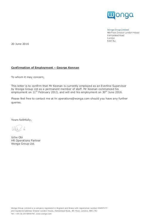 Employment Confirmation Letter June