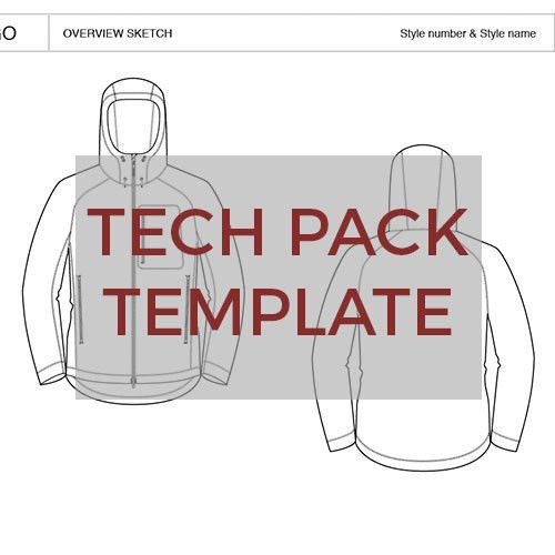 Women's Softshell Hoodie Tech Pack Template